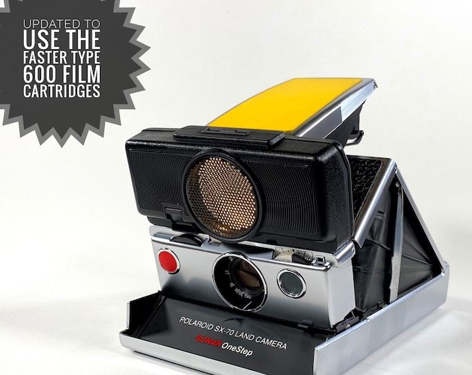 Rebuilt Polaroid SX70 Sonar Autofocus  - Updated to use 600 Film Cartridges and New Yellow and Black Skins