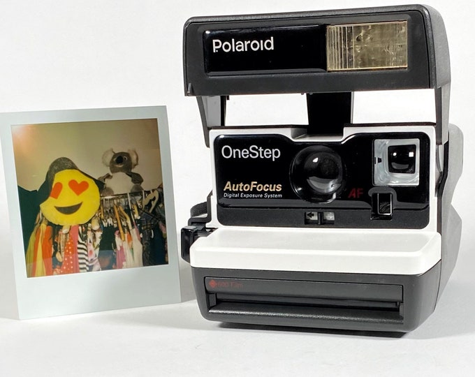 Polaroid Autofocus 600 - Cleaned, Tested - Works and Looks Great with upcycled white face