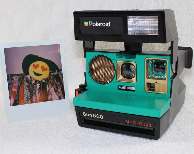 Polaroid 660 AutoFucus Upcycled Emerald Green and Gold - Cleaned, Tested and Ready for Fun