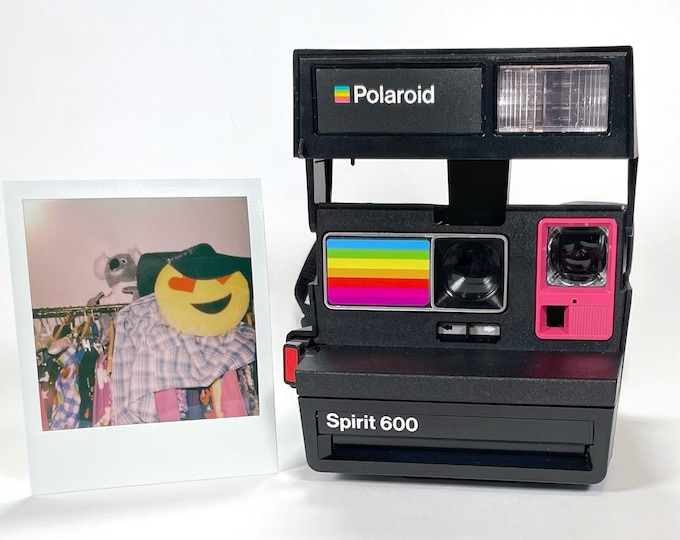 Polaroid Spirit 600 with Upcycled pink and rainbow face - Refreshed, Cleaned and Tested