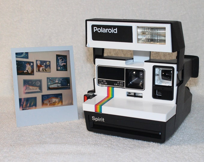 Upcycled White Rainbow Polaroid Spirit 600 With CloseUp Lens