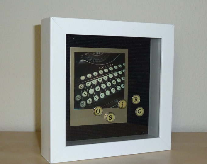 Vintage Typewriter 3D Polaroid Framed Art