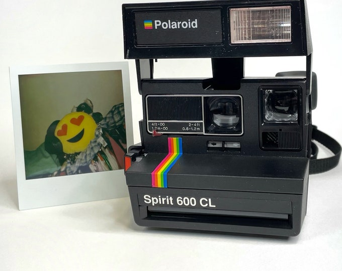 Original Rainbow Stripe Polaroid Spirit 600CL with Close Up - Refreshed - Works Great, Tested and Cleaned