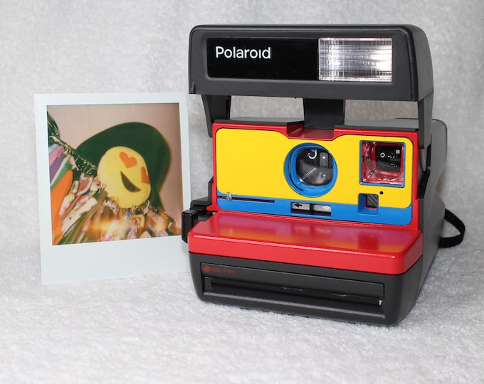 Upcycled Red, Yellow and Blue Polaroid 600 OneStep With Close Up And Flash Built-In - Ready To Use