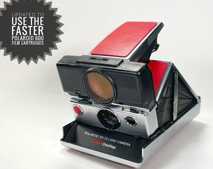 Rebuilt SX70 Sonar with fun red skins - updated for 600 film