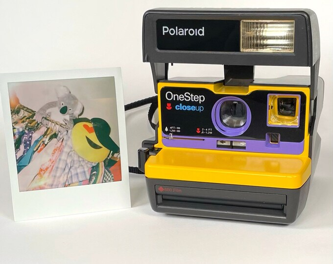 Upcycled Yellow and Purple Polaroid 600 OneStep - Refreshed, Tested, and Ready For Fun