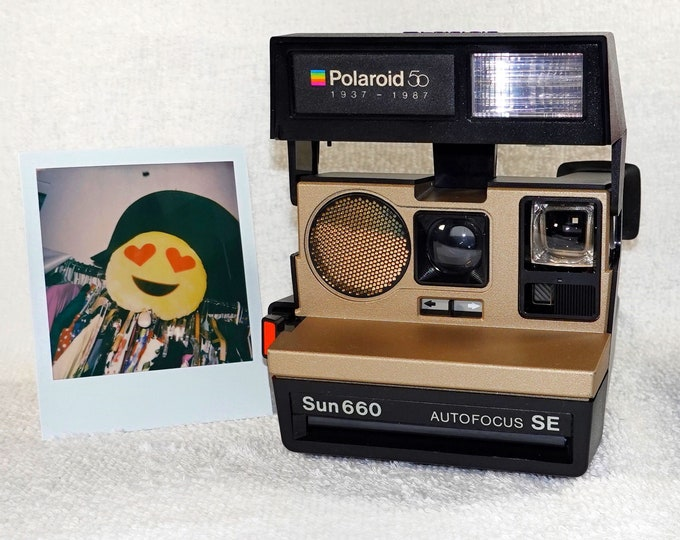 Original Gold 50th Anniversary Polaroid 660 Sonar AutoFocus - Refreshed, Cleaned, Tested and Ready for Fun