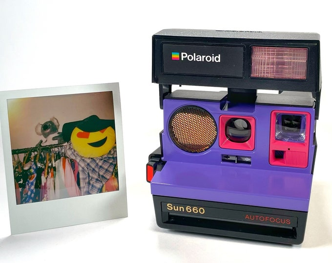 Polaroid 660 AutoFucus Upcycled Purple and Pink - Refreshed, Cleaned, Tested and Ready for Fun