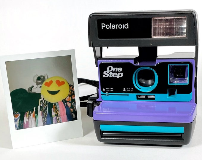 Turquoise & Purple Polaroid 600 OneStep - Refreshed, Cleaned, Tested, and Ready For Fun
