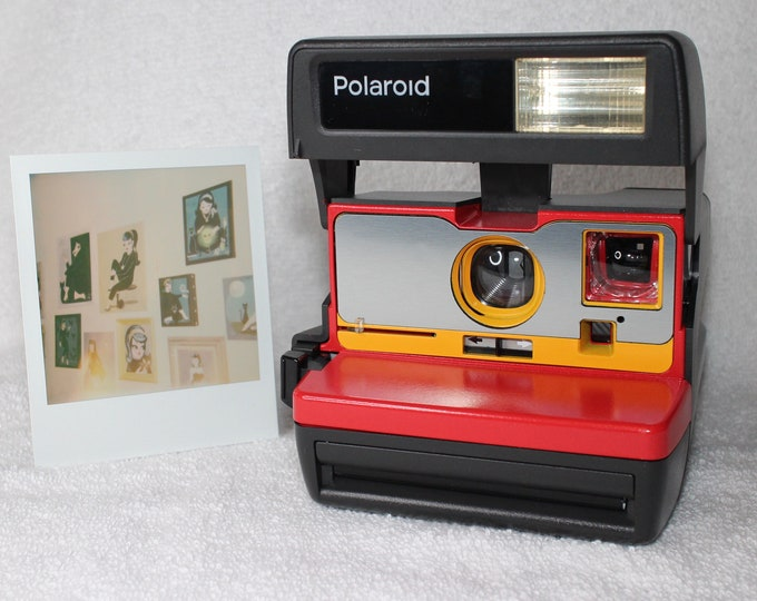 Red, Yellow and Brushed Silver Upcycled Working Polaroid 600 OneStep With Close Up And Flash Built-In