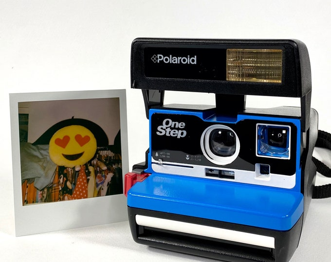 Upcycled with Blue and White Fully Working Business Edition 2.0 Polaroid 600 OneStep With Close Up And Flash Built-In
