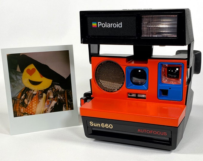 Polaroid 660 AutoFucus Upcycled Orange and Blue - Cleaned, Refreshed and Ready for Fun