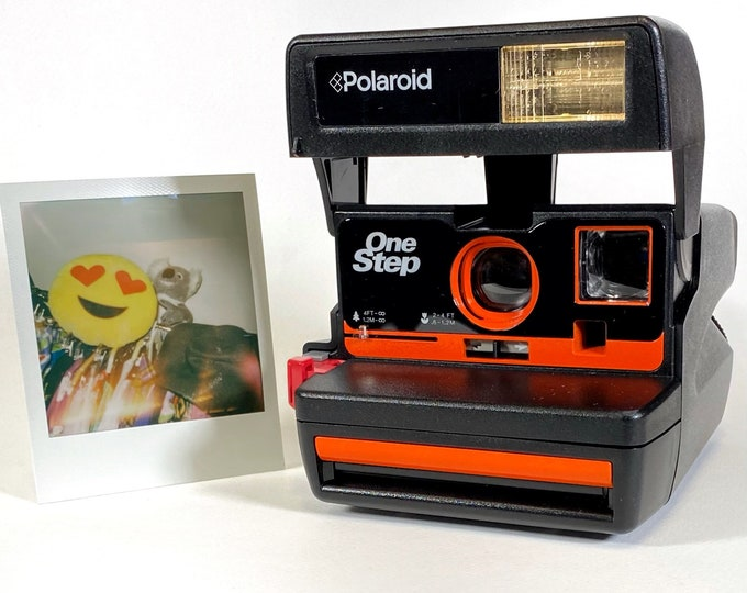 Upcycled Orange Accented Polaroid 600 Special Edition Business 2 OneStep - Refreshed, Cleaned, Tested, and Ready For Fun