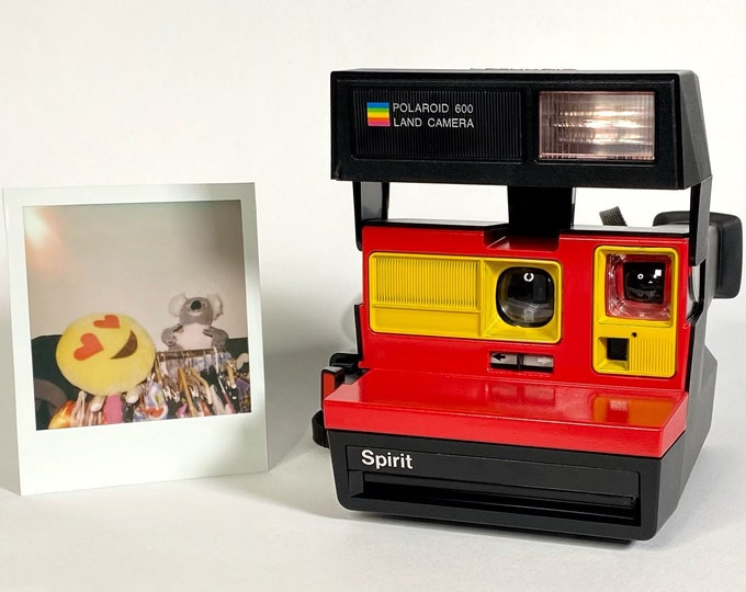 Polaroid Spirit 600 with Upcycled yellow and red face - Refreshed, Cleaned and Tested