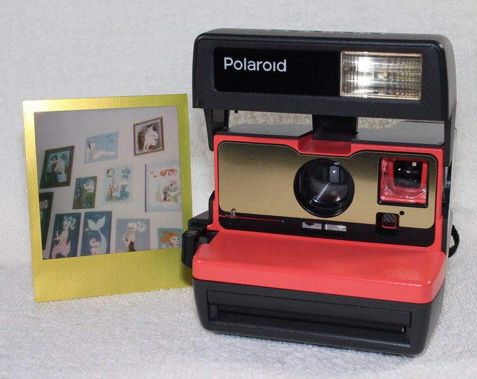 Coral with Brushed Gold Front Refreshed Polaroid 600 OneStep With Close Up And Flash Built-In