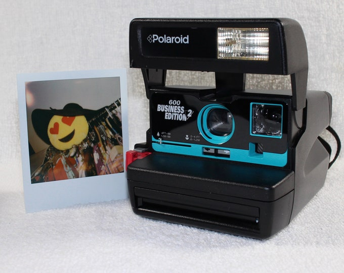 Upcycled with Turquoise Fully Working Business Edition 2.0 Polaroid 600 OneStep With Close Up And Flash Built-In