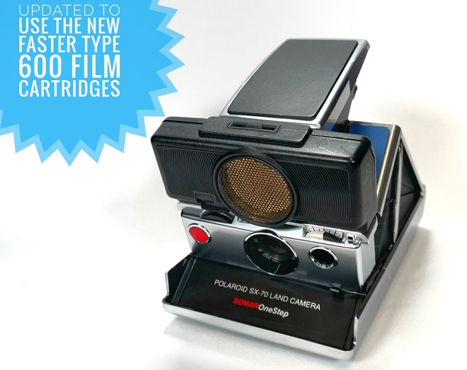 Rebuilt SX70 Sonar Autofocus with fun blue, green and black skins - updated for 600 film