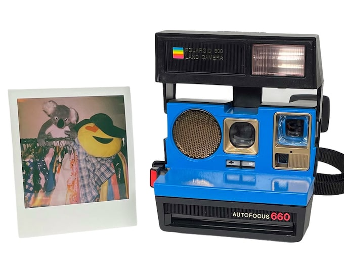 Polaroid 660 AutoFucus Upcycled Blue and Gold - Cleaned, Refreshed and Ready for Fun