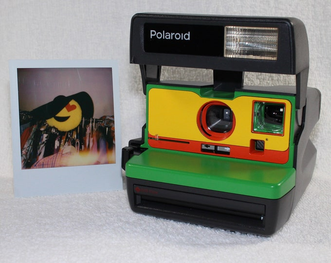 Upcycled Green, Yellow and Orange Polaroid 600 OneStep With Close Up lens and Flash Built-In - Ready To Use