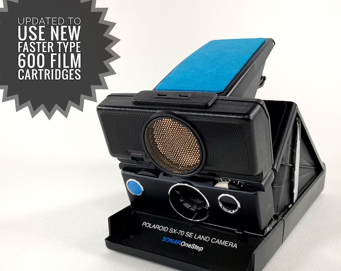 Rebuilt Polaroid SX70 Sonar Autofocus special black body - Updated to use 600 Film Cartridges and New Skins