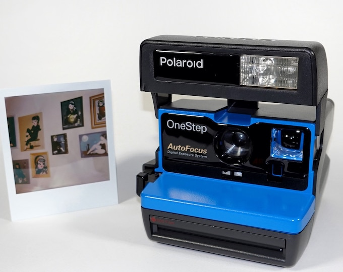 Polaroid Autofocus 600 - Cleaned, Tested - Works and Looks Great with upcycled blue face