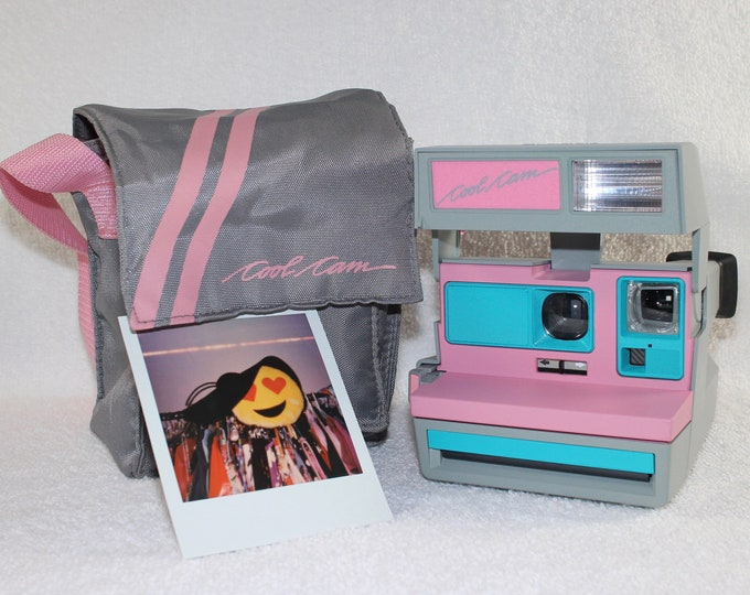 Pink CoolCam 600 Polaroid Camera and Bag - Upcycled with Turquoise - Cleaned and Tested