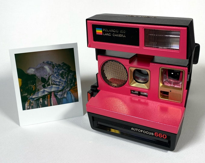 Polaroid 660 Sonar AutoFucus Upcycled Pink & Gold - Refreshed, Cleaned, Tested and Ready for Fun