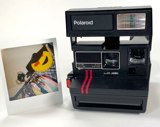 Dual Stripe Polaroid Sun 600 with Close Up - Works Great, Tested and Cleaned