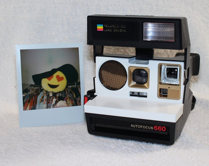 Polaroid 660 AutoFucus Upcycled White and Gold - Cleaned, Tested and Ready for Fun