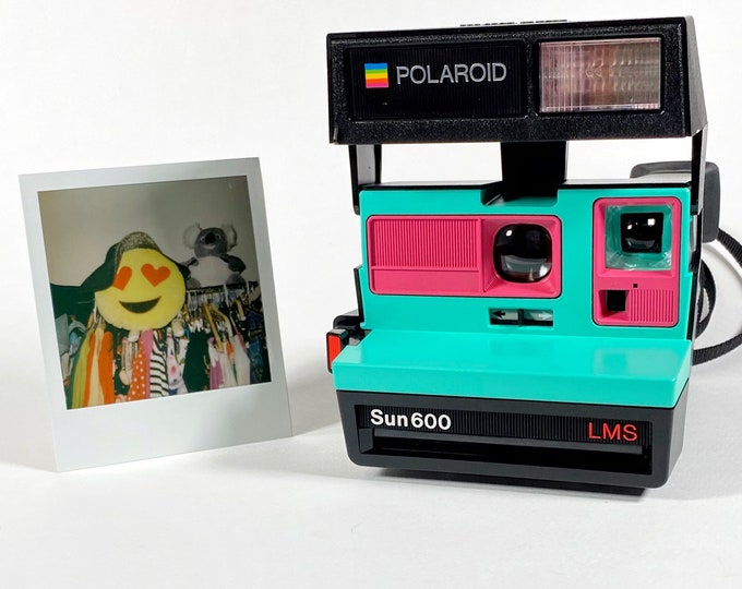 Polaroid Sun 600 with Upcycled Retro Green and Pink face - Refreshed, Cleaned and Tested