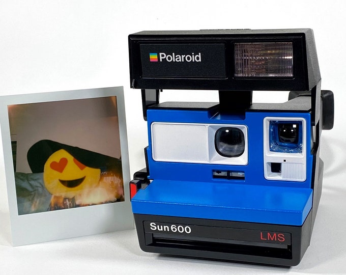 Polaroid Sun 600 with Upcycled blue and white face - Refreshed, Cleaned and Tested