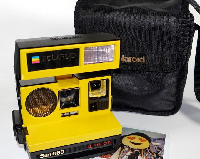 Specil Polaroid 660 AutoFucus Bundle - Upcycled Yellow - Cleaned, Refreshed and Ready for Fun