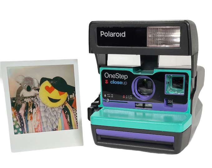 Retro Green & Purple Polaroid 600 OneStep - Refreshed, Cleaned, Tested, and Ready For Fun