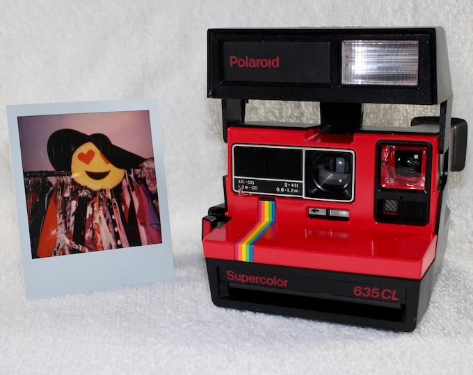 Upcycled Red Rainbow Polaroid Supercolor 635CL With CloseUp Lens