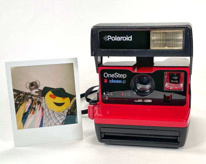 Upcycled Red Accented Polaroid 600 Special Edition Pro 2 OneStep - Refreshed, Cleaned, Tested, and Ready For Fun