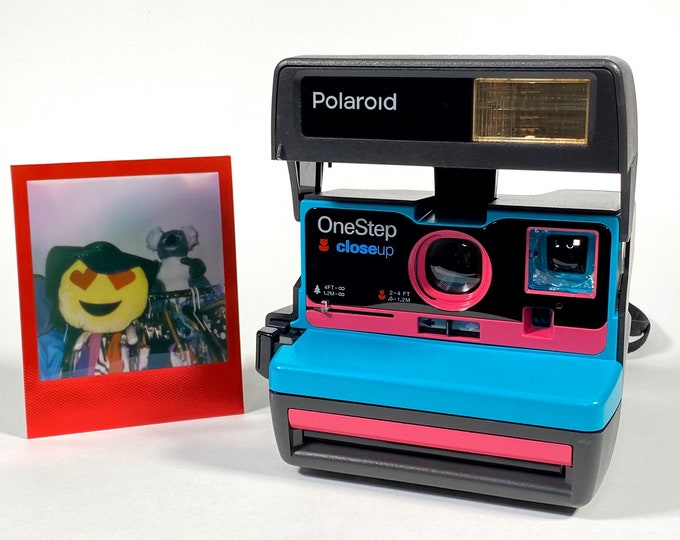 Upcycled Turquoise and Pink Polaroid 600 OneStep With Close Up And Flash Built-In - Ready To Have Fun