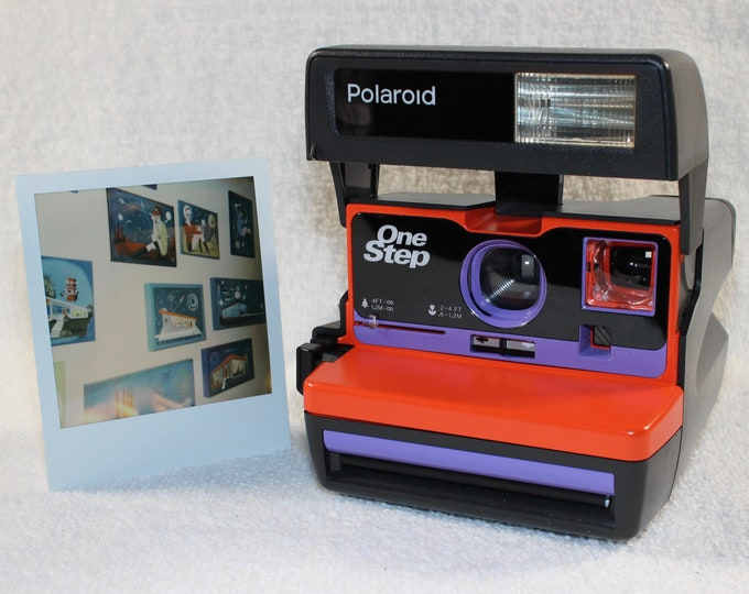 Ready For Fun! Upcycled Orange and Purple Polaroid 600 OneStep