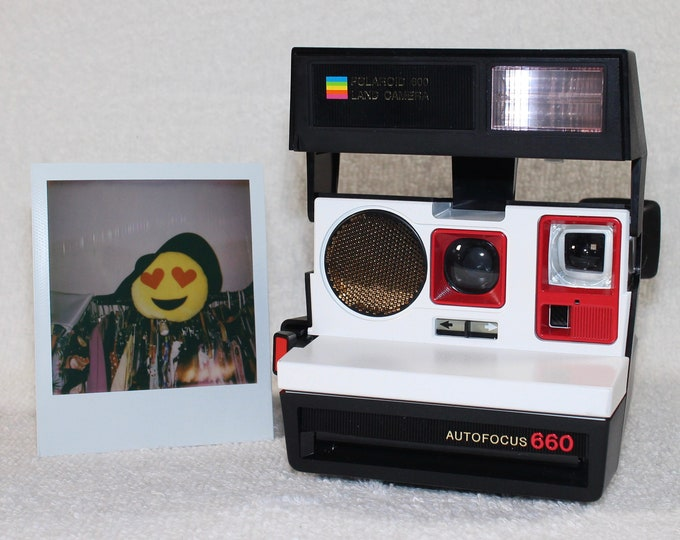 Polaroid 660 AutoFucus Upcycled White and Red - Cleaned, Refreshed and Ready for Fun