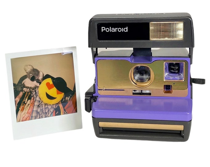 Purple and Gold Polaroid 600 OneStep - Refreshed, Cleaned, Tested, and Ready For Fun