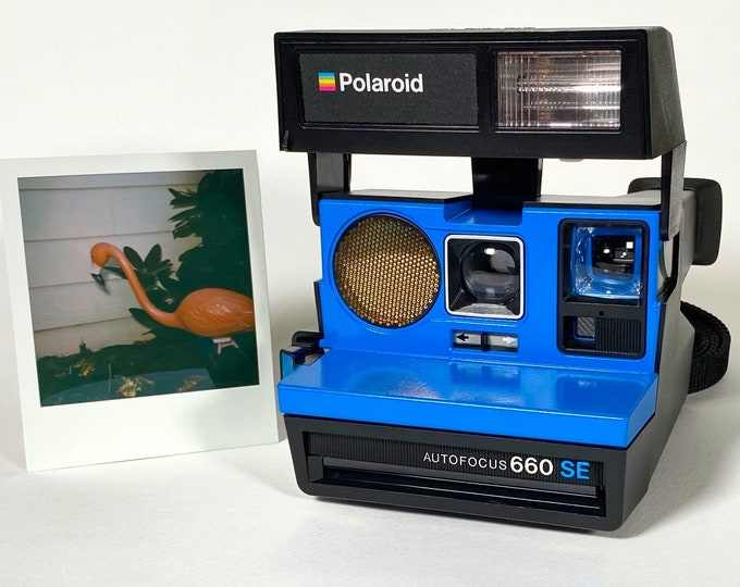 Polaroid 660 SE AutoFucus Upcycled Blue face - Refreshed, Tested and Ready for Fun