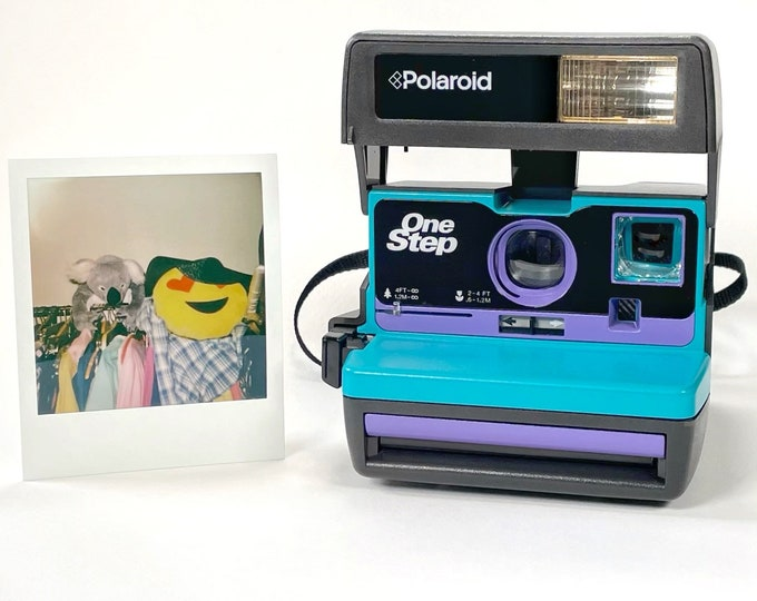 Upcycled Turquoise and Purple Polaroid 600 OneStep With Close Up And Flash Built-In - Ready To Use