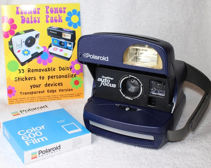 Party Bundle - Blue Vintage Polaroid 600 Autofocus Camera, Film and Daisy Sticker Pack