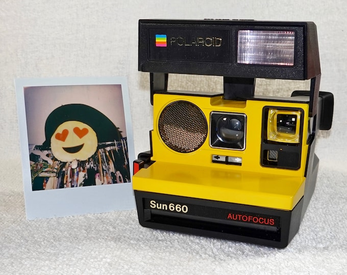 Polaroid 660 AutoFucus Upcycled Yellow - Cleaned, Refreshed and Ready for Fun