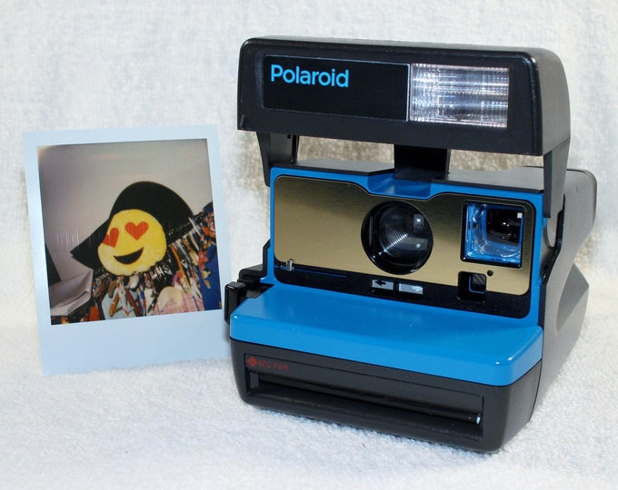 Blue with Brushed Gold Front Polaroid 600 OneStep With Close Up And Flash Built-In
