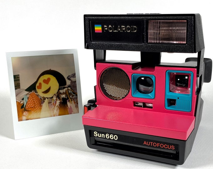 Polaroid 660 Sonar AutoFucus Upcycled Pink & Turquoise - Refreshed, Cleaned, Tested and Ready for Fun