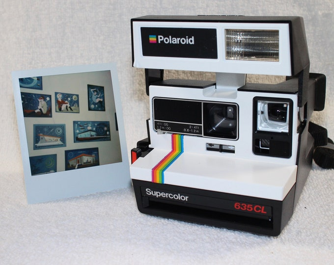 Upcycled White Rainbow Polaroid Supercolor 635CL With CloseUp Lens