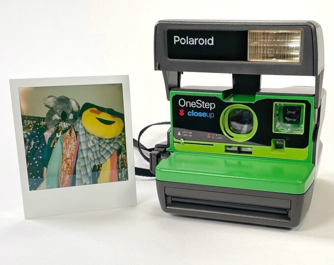 Upcycled Two Tone Green Polaroid 600 OneStep - Refreshed, Cleaned, Tested, and Ready For Fun