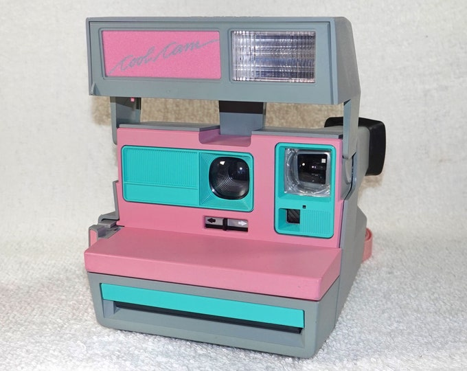 Pink CoolCam 600 Polaroid Camera Upcycled with Retro Green - Refreshed, Cleaned and Tested