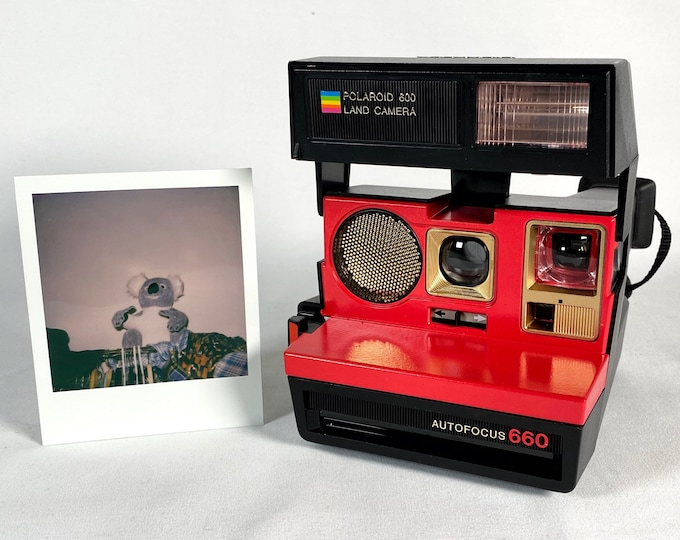 Polaroid 660 AutoFucus Upcycled Red and Gold - Cleaned, Refreshed and Ready for Fun