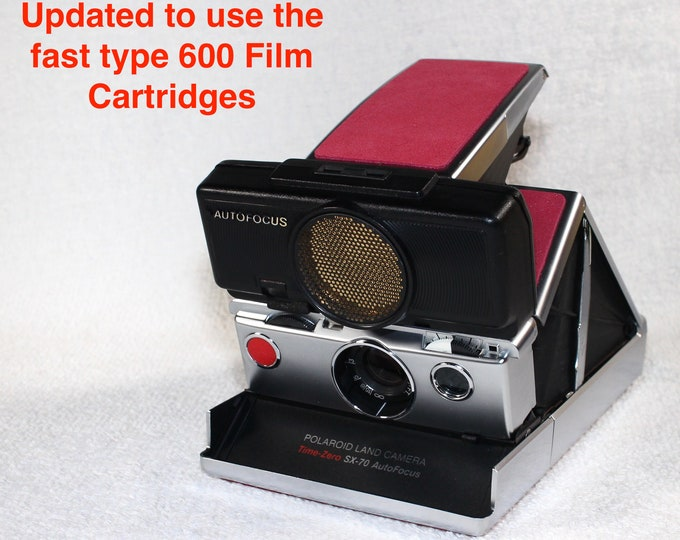 Rebuilt Polaroid SX70 Sonar Autofocus  - Updated to use 600 Film Cartridges and New Pink Skins